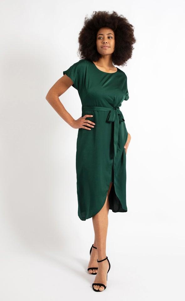Satin Tie Wrap Midi Dress