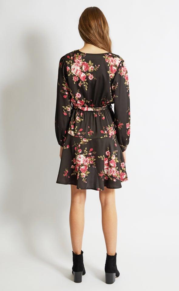 Satin Wrap Front LS Dress Black/pink