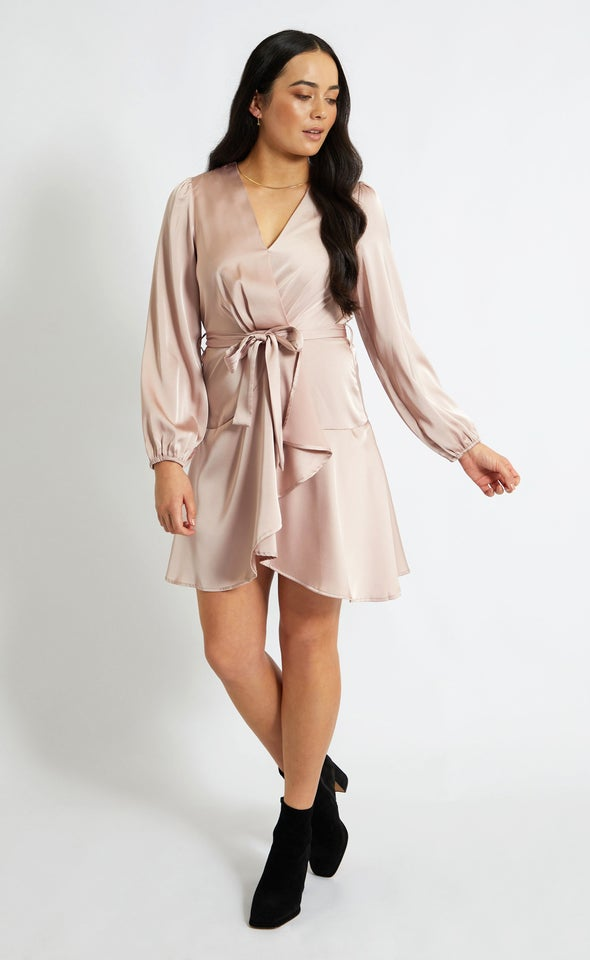 Satin Wrap Front LS Dress Dusky Pink