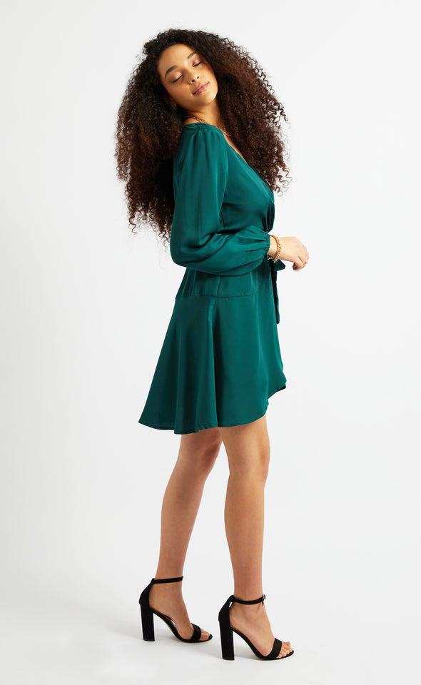 Satin Wrap Front LS Dress Emerald