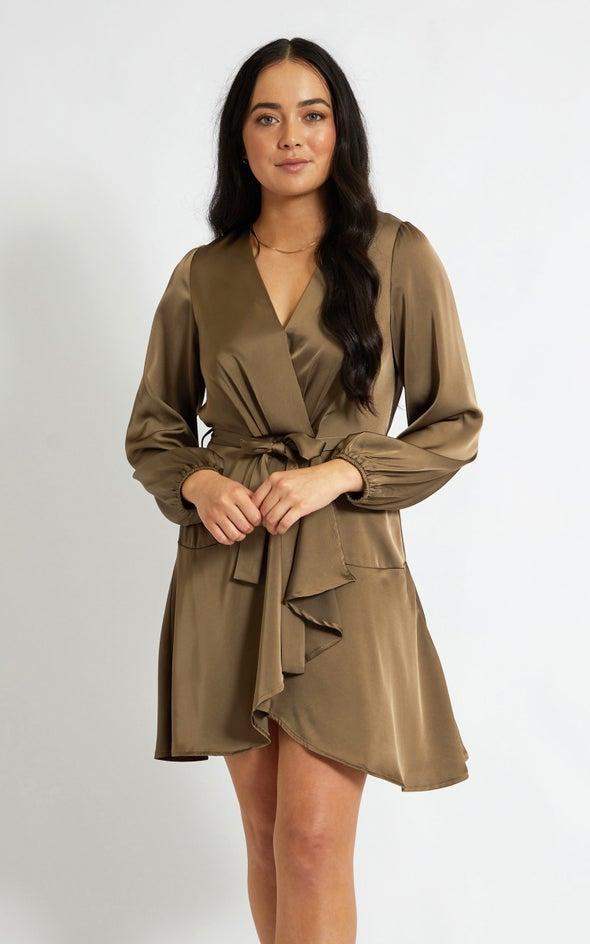 Satin Wrap Front LS Dress Khaki