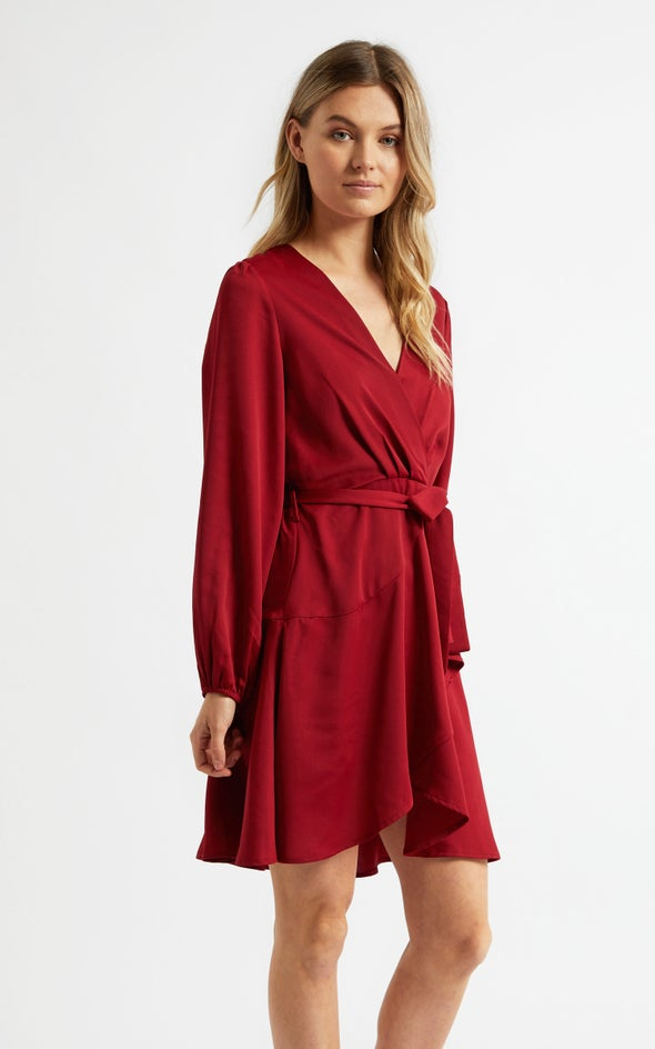 Satin Wrap Front LS Dress Maroon