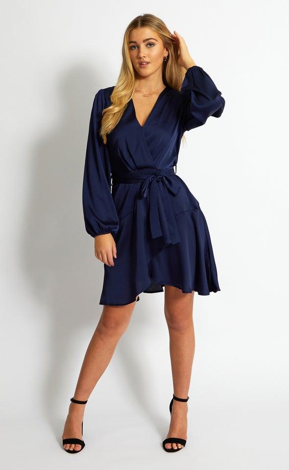 Satin Wrap Front LS Dress
