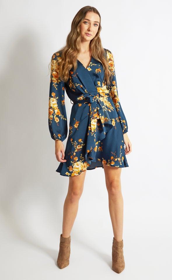 Satin Wrap Front LS Dress Teal/mustard