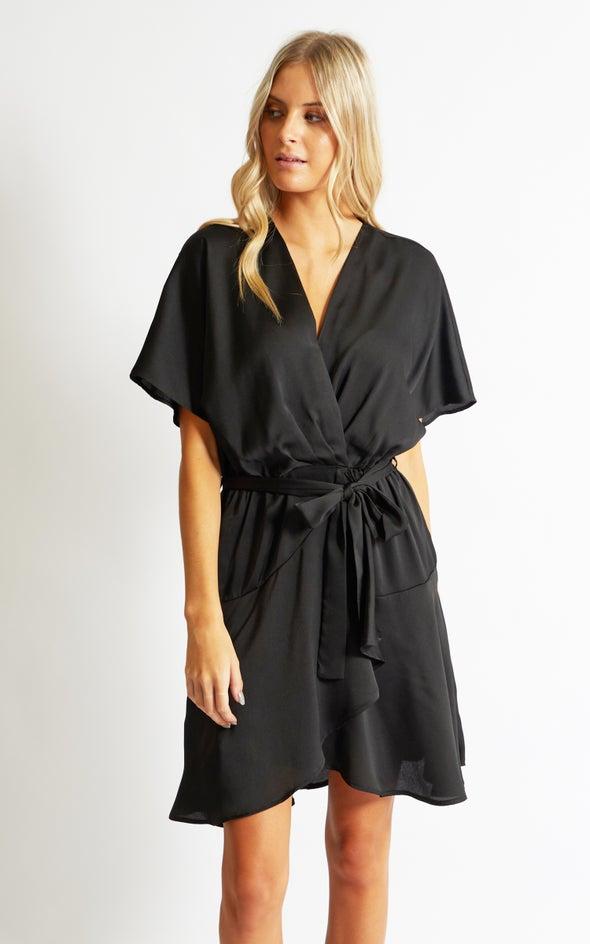 Satin Wrap Front SS Dress Black