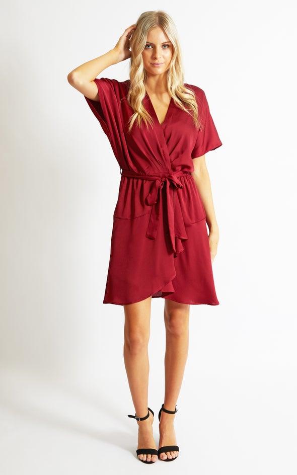 Satin Wrap Front SS Dress Maroon