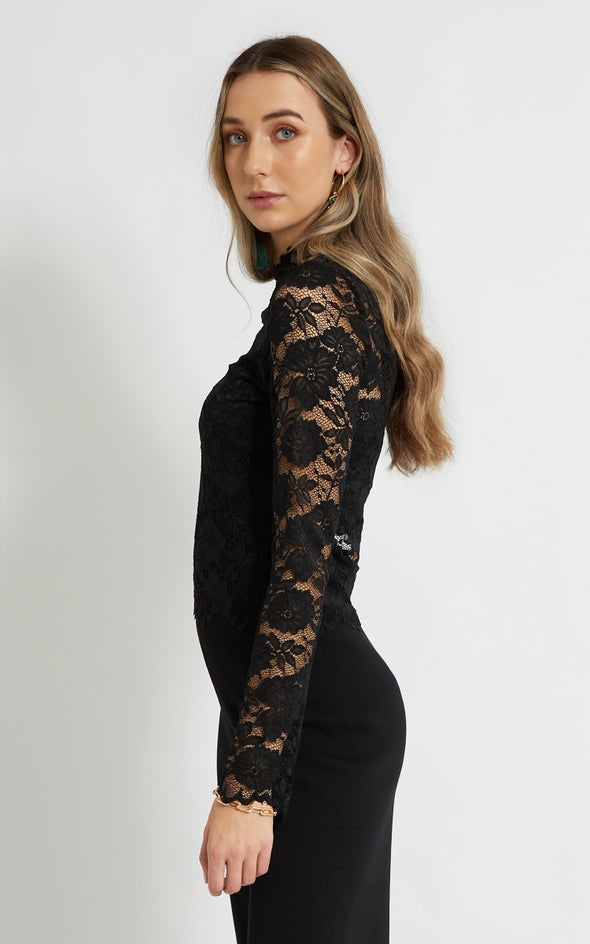 Scallop Lace LS Crop Top Black