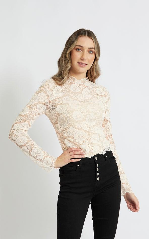 Scallop Lace LS Crop Top Blush