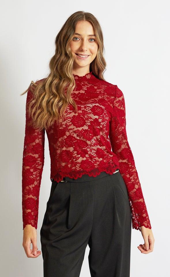 Scallop Lace LS Crop Top Maroon