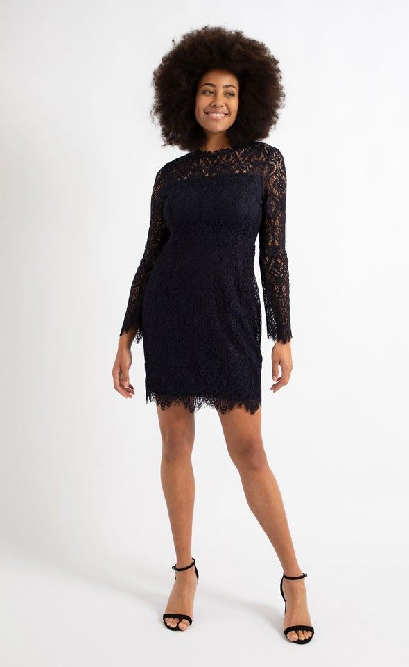 Scallop Lace LS Pencil Dress