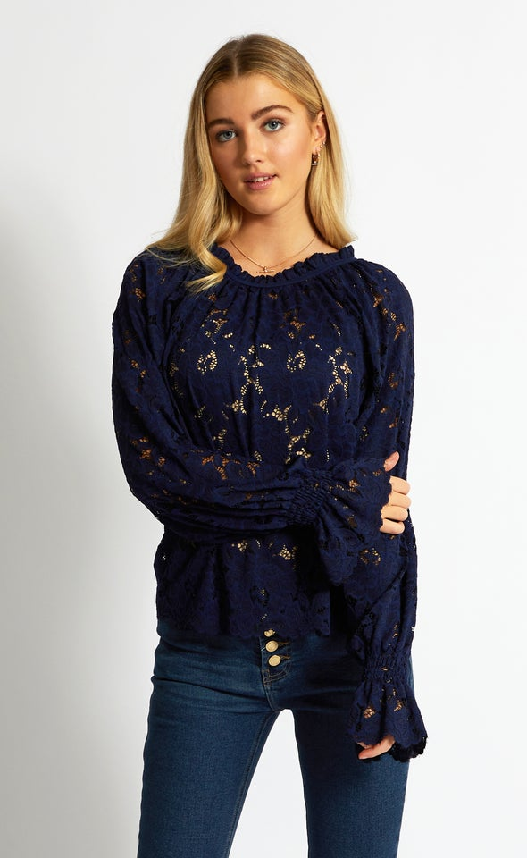 Scallop Lace LS Top Navy