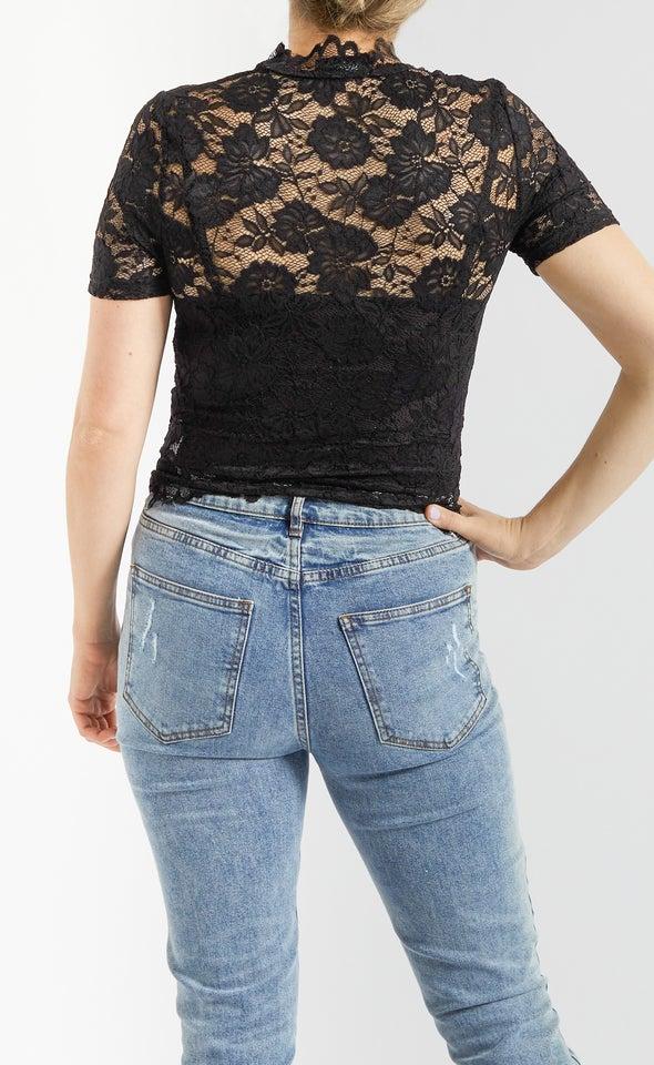 Scallop Lace Short Sleeve Crop Top Black