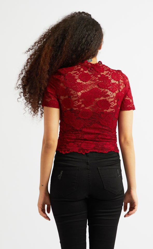 Scallop Lace Short Sleeve Crop Top Maroon