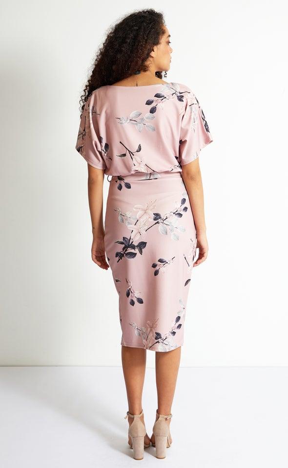 Scuba Floral Batwing Wrap Dress Blush Floral