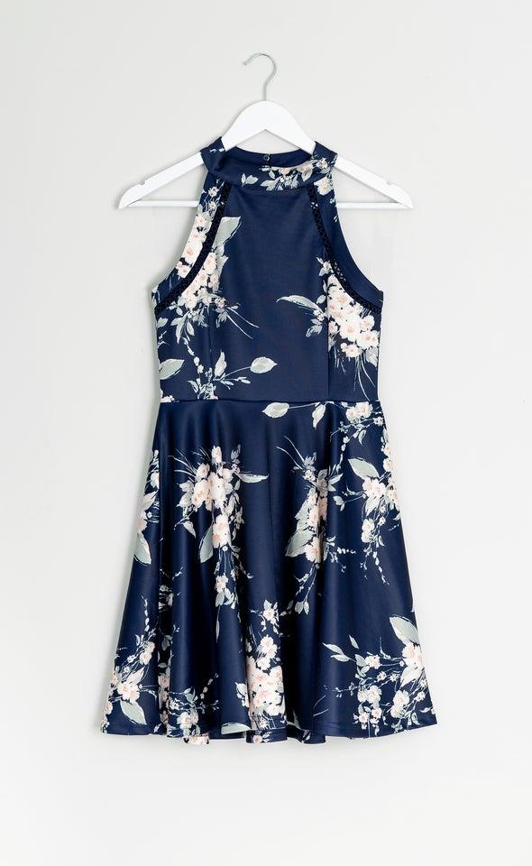 Scuba Floral Halter Skater Dress