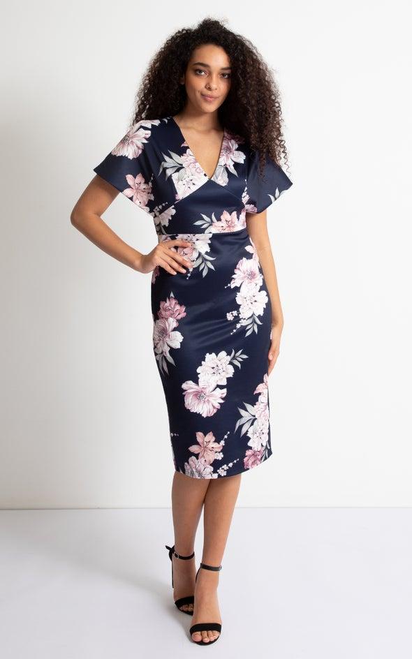 Scuba Floral Kimono Sleeve Dress Navy Floral