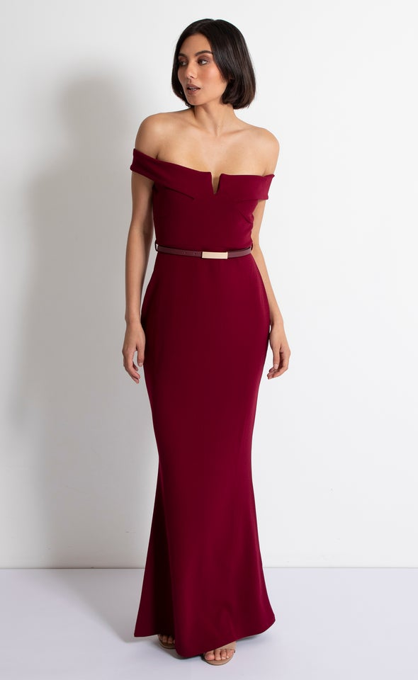 Scuba Off The Shoulder Gown Maroon