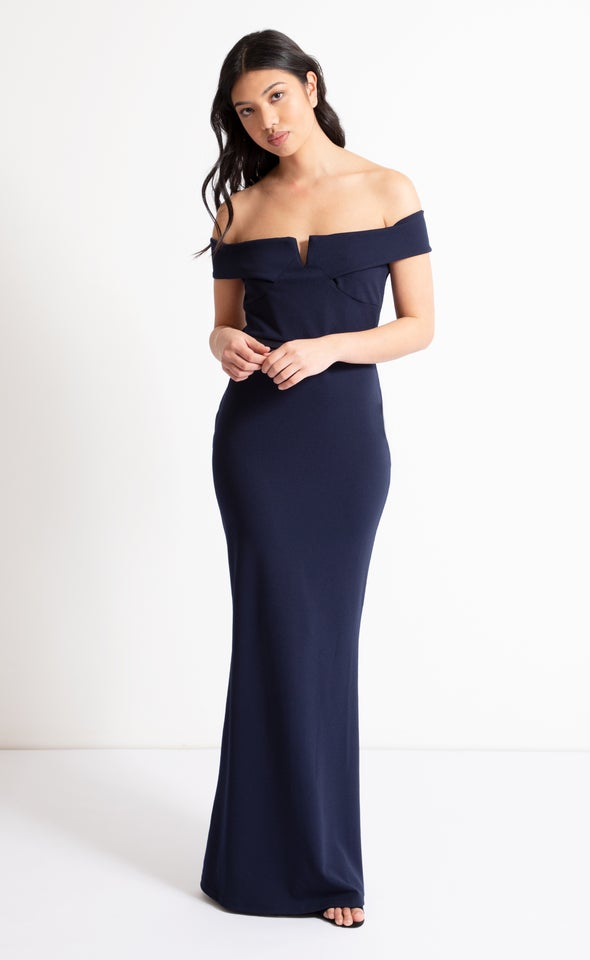 Scuba Off The Shoulder Gown Navy