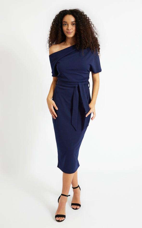 Scuba Ruched Shoulder Dress Navy