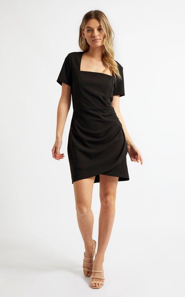 Scuba Square Neck Peated Dress Black