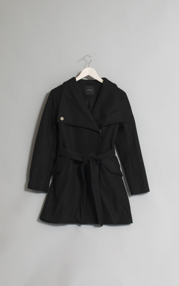 Self Tie Wrap Coat Black