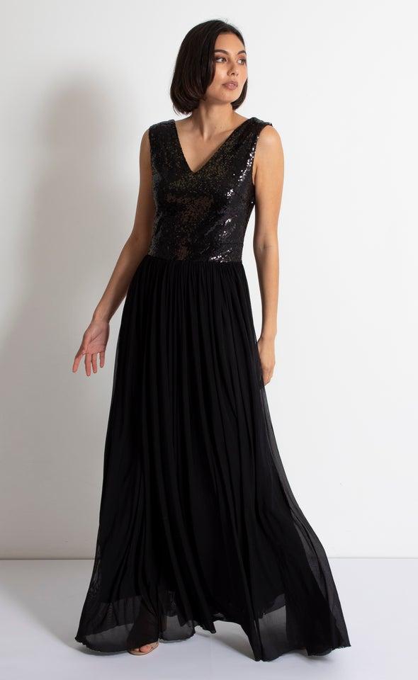 Sequin Bodice Mesh Gown Black