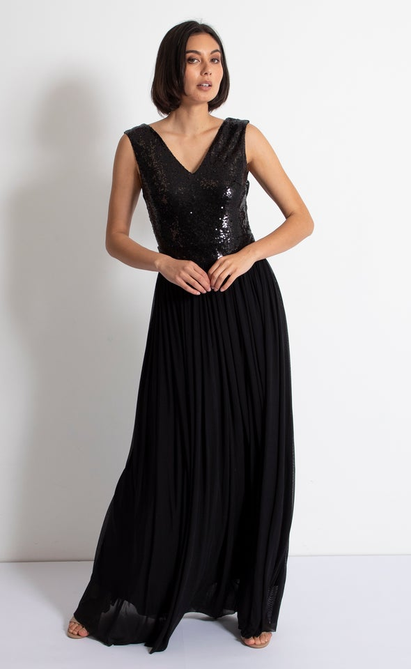 Sequin Bodice Mesh Gown