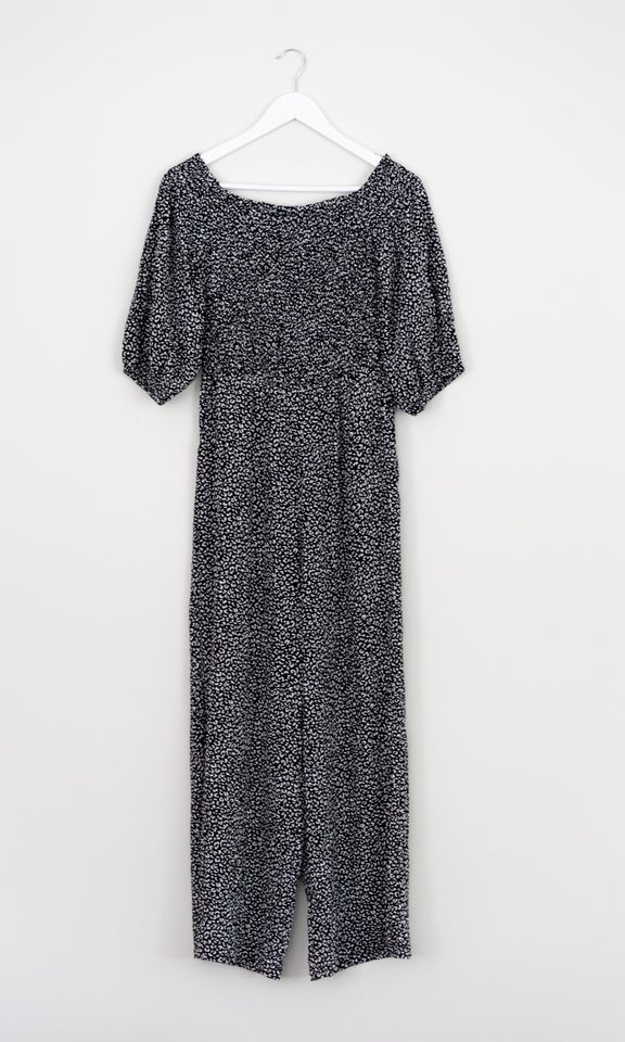 Shirred Bodice Printed Jumpsuit Blk/white