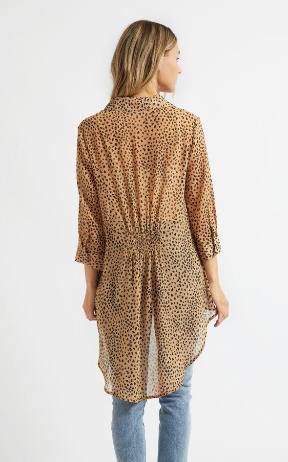 Shirred Panel Longline Shirt Tan/blk