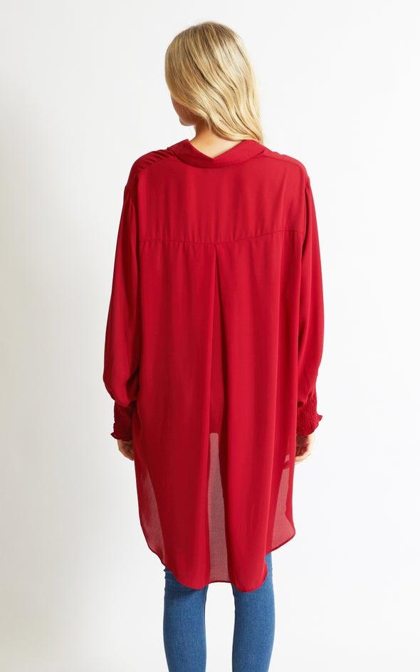 Shirred Sleeve Longline Shirt Berry