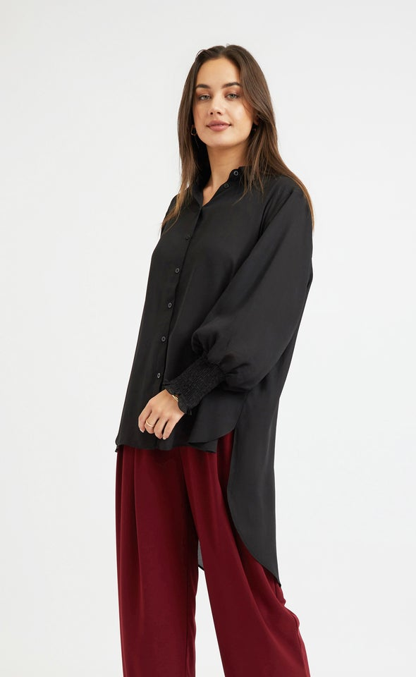 Shirred Sleeve Longline Shirt Black