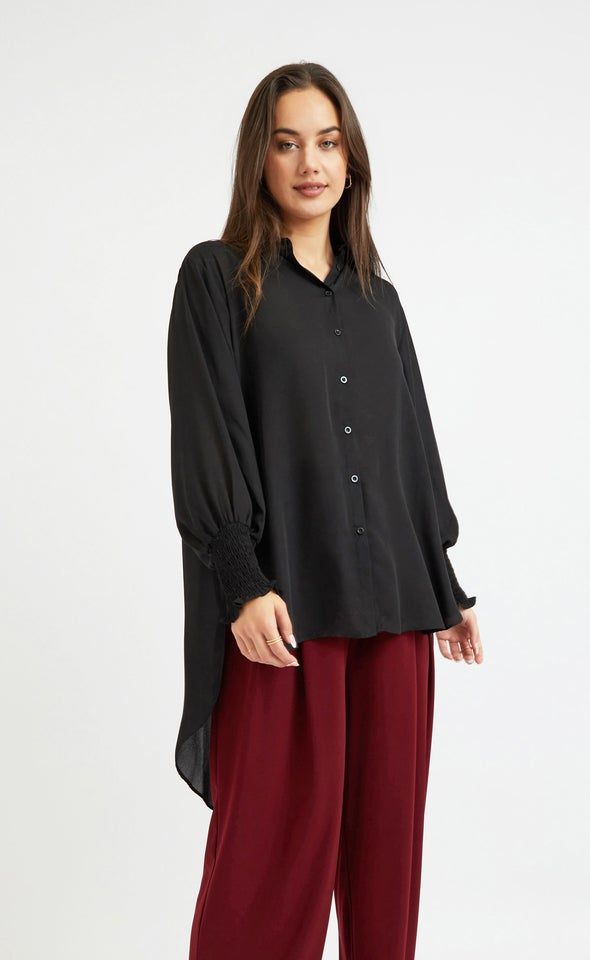 Shirred Sleeve Longline Shirt