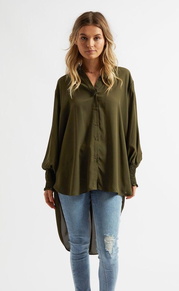 Shirred Sleeve Longline Shirt Olive