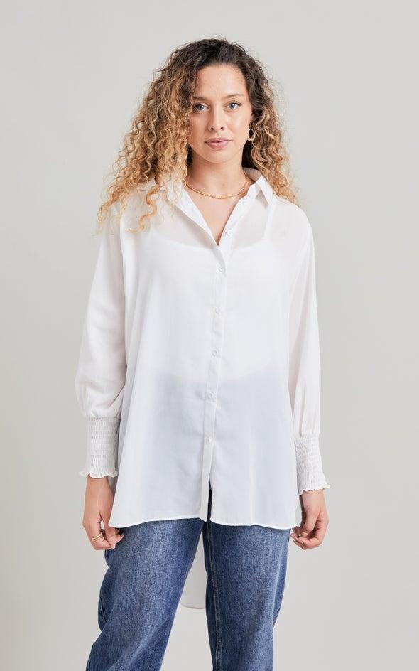 Shirred Sleeve Longline Shirt White