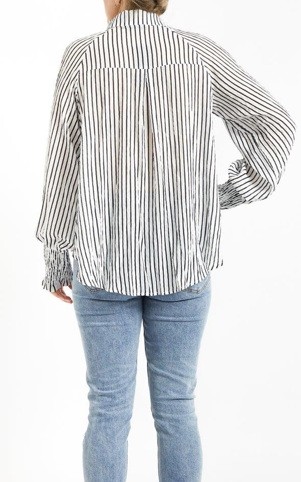 Shirred Sleeve Printed Shirt White/blk