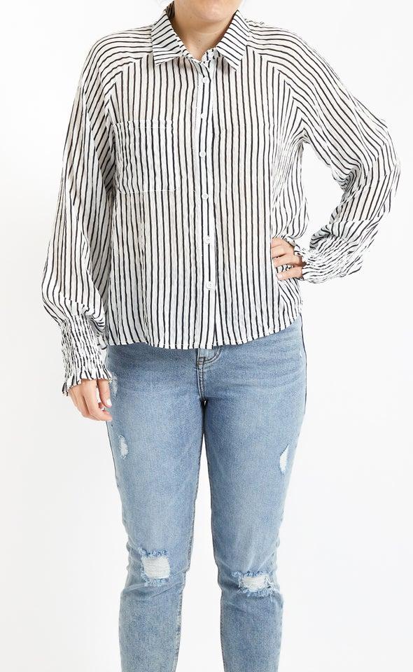 Shirred Sleeve Printed Shirt