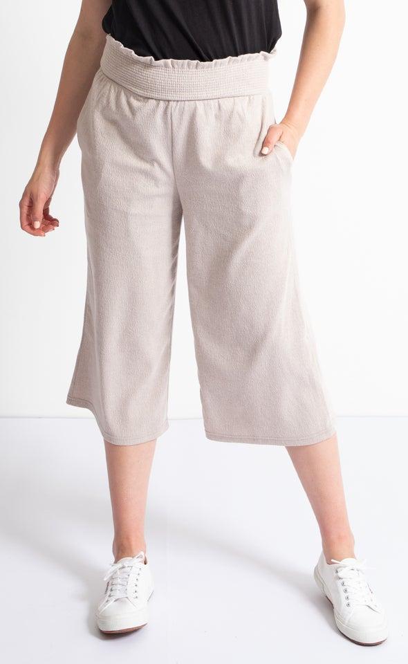 Shirred Waist Cropped Pants