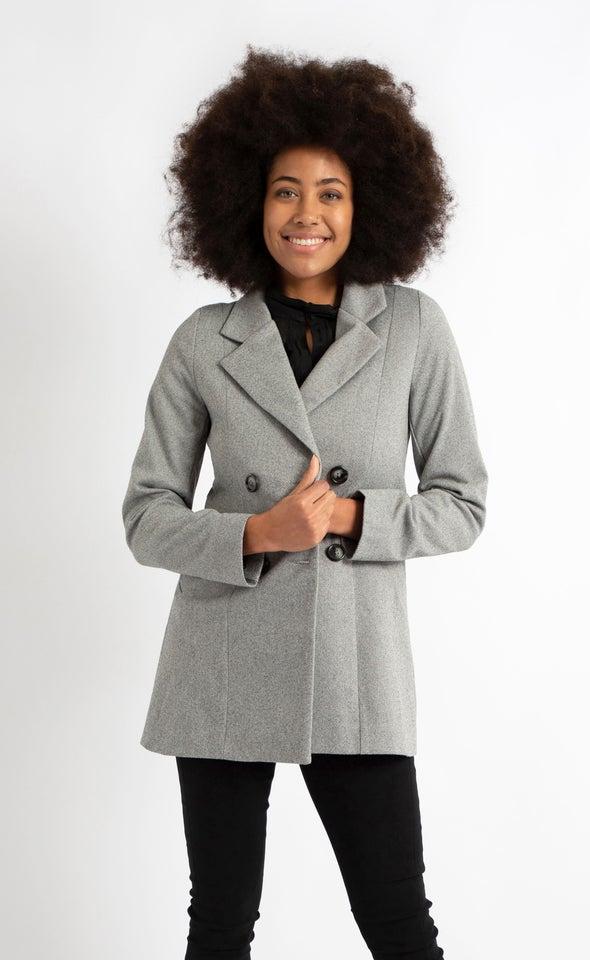 Short Checked Coat Black/cream
