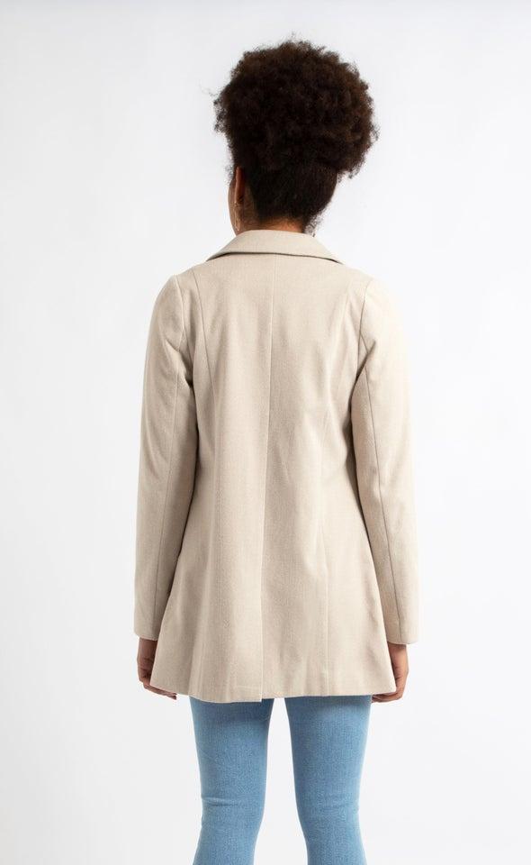 Short Checked Coat Taupe/cream
