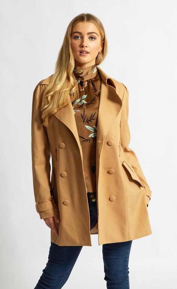 Short Length Trench Coat Camel