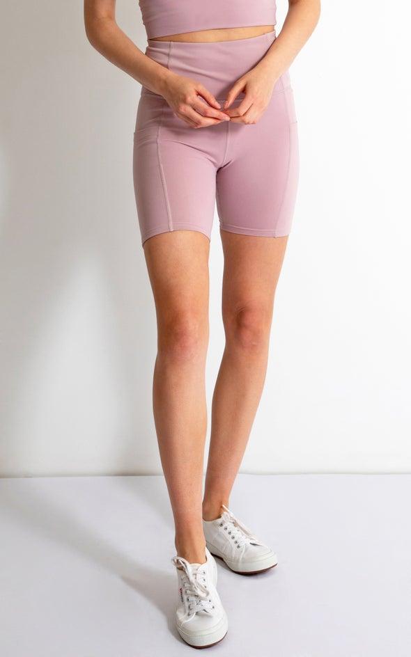 Side Pocket 6 Inch Bike Short Blush