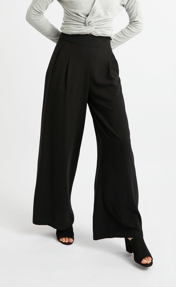 Side Pocket Wide Leg Pants Black