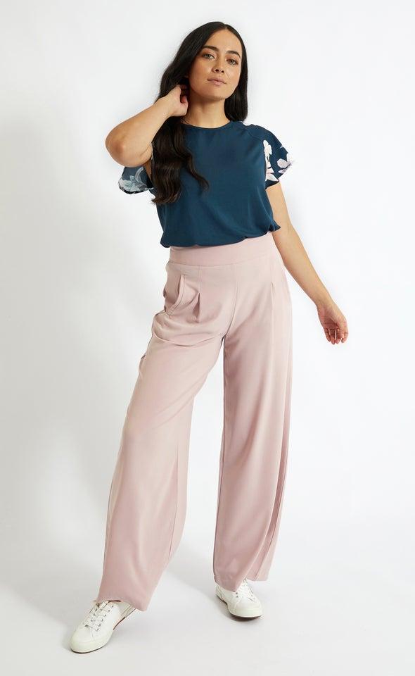 Side Pocket Wide Leg Pants Blush