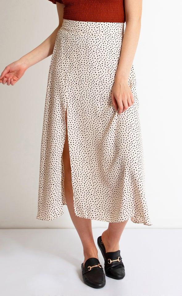 Side Split Printed Midi Skirt