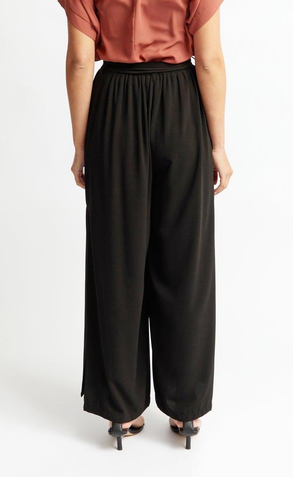Side Split Wide Pants Black