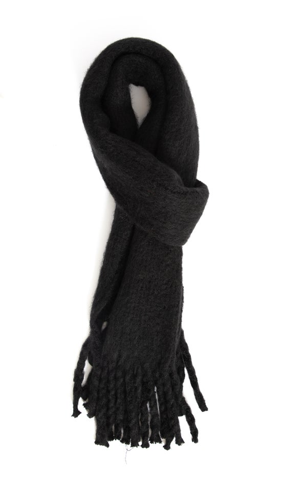 Soft Tassel Edge Scarf Black
