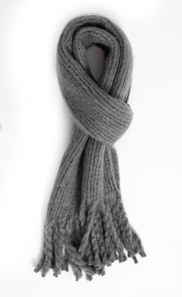 Soft Tassel Edge Scarf Grey