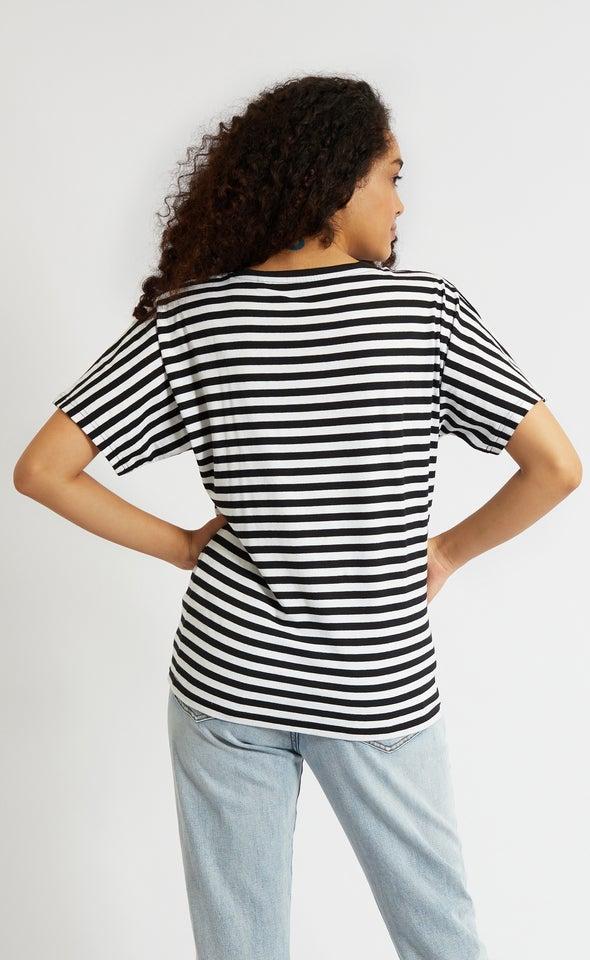 Stripe Jersey Batwing Sleeve Tee White/black