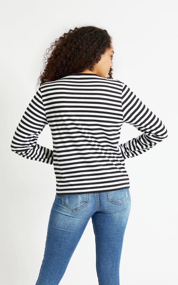 Stripe Jersey Notch Neck LS Top White/black