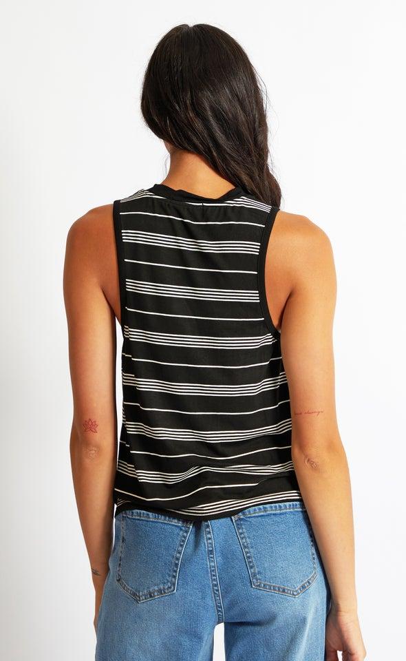 Stripe Jersey Tank Black/white